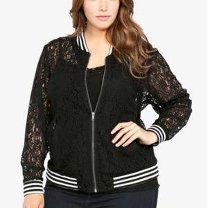 Torrid Black Lace Bomber Jacket